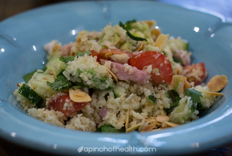 photo of a low carb rice salad using cauliflower rice